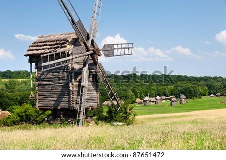 Antique wooden windmill in Pirogovo