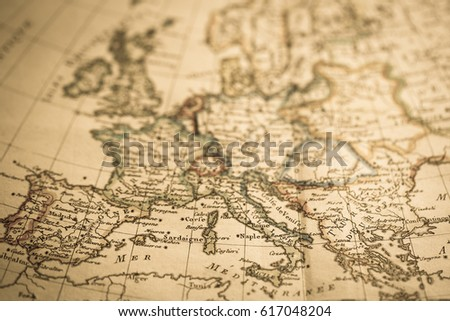 Antique world map Europe