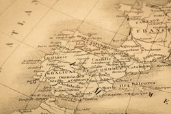 Antique world map, Spain and Portugal