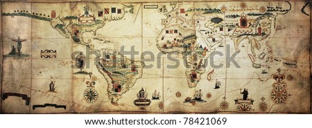Antique world planisphere portolan map of Spanish and Portuguese maritime and colonial empire. Created by Antonio Sanches, published in Portugal, 1623