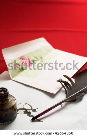 Antique writting mail on red backgrounds