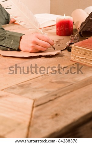 Antique writting objects at wooden desk