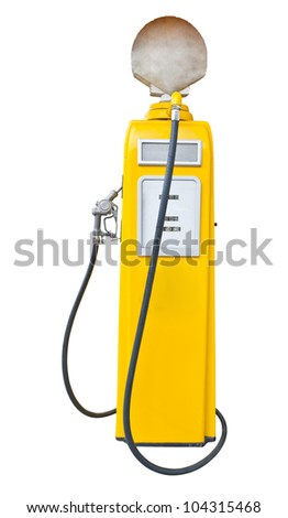 Antique yellow gas pump on white with clipping path