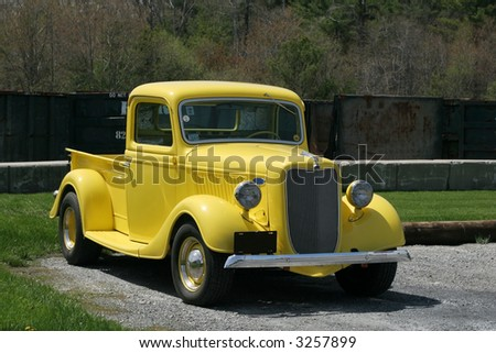 antique yellow truck