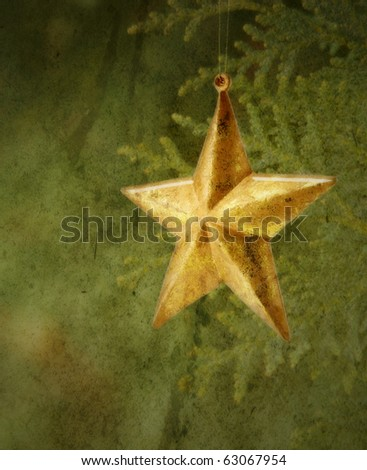 Antiqued Old vintage Star  with Muted colors texture and SOFT FOCUS