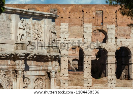Antiquities, archeology and vistiges of the past in Rome. Coliseum monumental arches and Arch of Constantinus side by side #1104458336