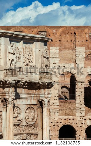 Antiquities, archeology and vistiges of the past in Rome. Coliseum monumental arches and Arch of Constantinus side by side #1132106735