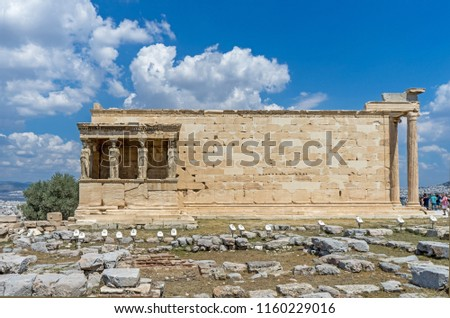 Antiquities on the monument of the Acropolis in Athens, Greece.  #1160229016