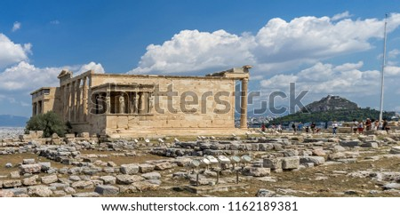 Antiquities on the monument of the Acropolis in Athens, Greece.  #1162189381