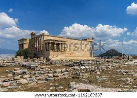 Antiquities on the monument of the Acropolis in Athens, Greece.  #1162189387