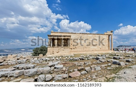 Antiquities on the monument of the Acropolis in Athens, Greece.  #1162189393