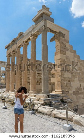 Antiquities on the monument of the Acropolis in Athens, Greece.  #1162189396