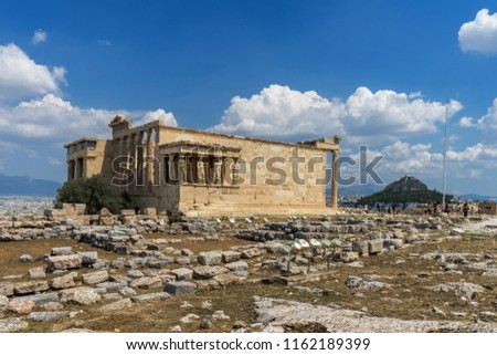 Antiquities on the monument of the Acropolis in Athens, Greece.  #1162189399
