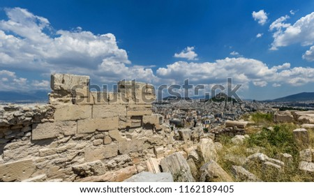 Antiquities on the monument of the Acropolis in Athens, Greece.  #1162189405