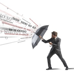 Antivirus and firewall concept with businessman and umbrella