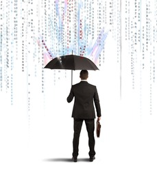 Antivirus and firewall concept with businessman protected with umbrella
