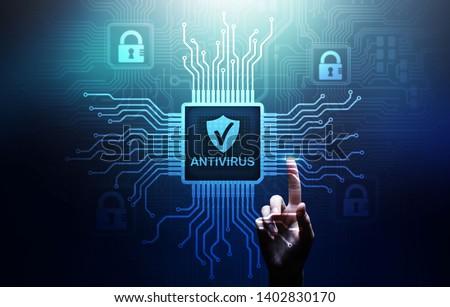 Antivirus Cyber security Data protection Technology concept on virtual screen. Zdjęcia stock ©
