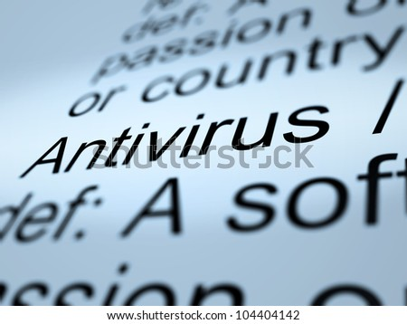 Antivirus Definition Closeup Shows Computer System Security