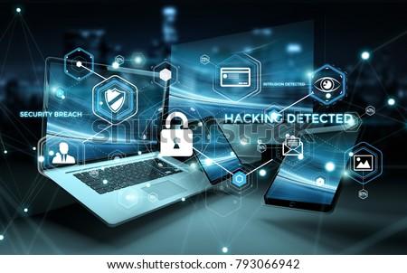 Antivirus interface over modern tech devices in dark background 3D rendering