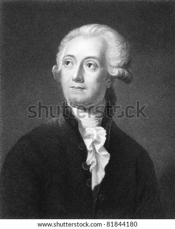 Antoine Lavoisier (1743-1794). Engraved by C.E.Wagstaff and published in The Gallery Of Portraits With Memoirs encyclopedia, United Kingdom, 1835. - stock photo