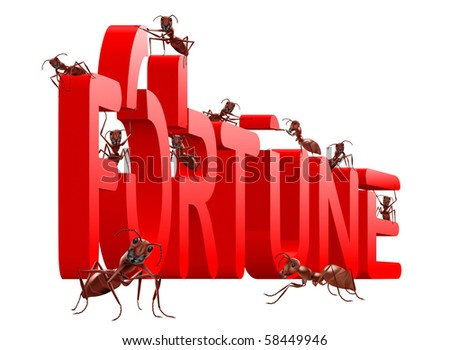 ants building red 3D word fortune isolated on white background success luck lucky winner