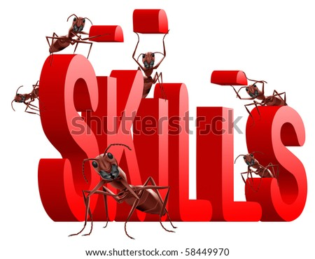 ants building red 3D word skills metaphor for training and developing talents