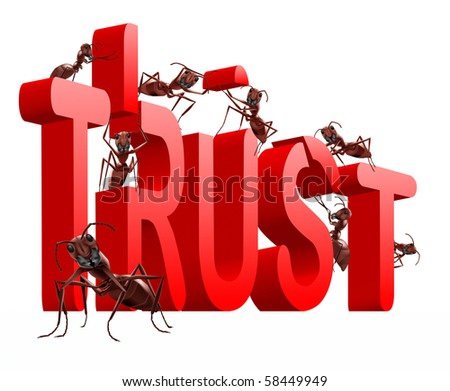 ants building red 3D word trust