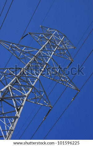 ants eye view of electric tower and cables