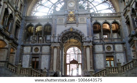 Antwerp, Belgium-January, 19,2018: One of the most beautiful railway stations in the world, Antwerp Central #1006643575