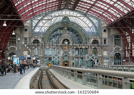 ANTWERP, BELGIUM - MAY 24: Upper level of Antwerp Central station on May 24, 2013 in Antwerp, Belgium. In 2009 the magazine Newsweek judged Antwerp Central the world\'s fourth greatest train station.