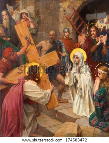 ANTWERP, BELGIUM - SEPTEMBER 5, 2013: Jesus and Mary in cross way as part of  cycle by Josef Janssens from years 1903 - 1910 in the cathedral of Our Lady.