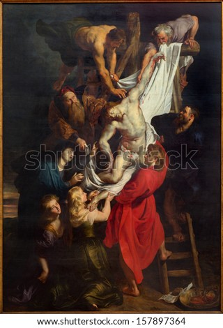 ANTWERP BELGIUM SEPTEMBER 4 Raising of the cross 460x340 cm from years 1609 1610 by baroque painter Peter Paul Rubens in the cathedral of Our Lady on September 4 2013 in Antwerp Belgium