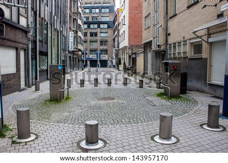 ANTWERP - MAY 18: Street in diamond district on May 18, 2013 in Antwerp, Belgium. About 80 percent of the world's diamond production is being transacted in Antwerp. #143957170