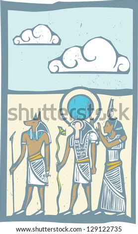 Anubis and Horus with clouds Egyptian hieroglyph in woodcut style.