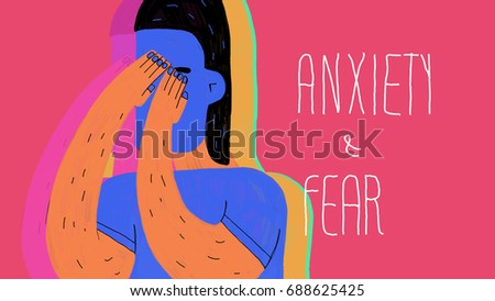 Anxiety and fear. Illustration. Conceptual illustration about anxiety and fear, using vivid colors and beautiful graphic style. The age of anxiety.