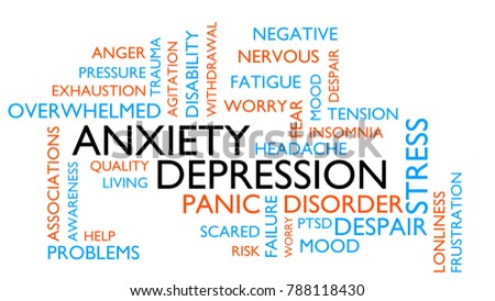 Anxiety, depression, stress, disorder word tag cloud. 3D rendering, white variant.