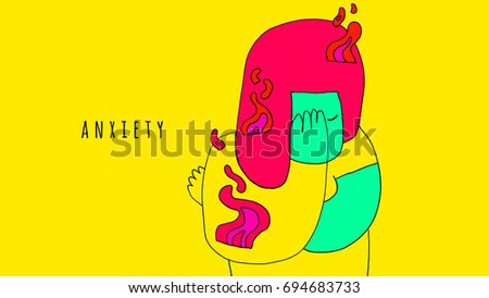 Anxiety, emotions. Illustration with title. Illustration of minimalist and colorful style that expresses in an abstract and metaphorical way the anxiety and its physical effects.