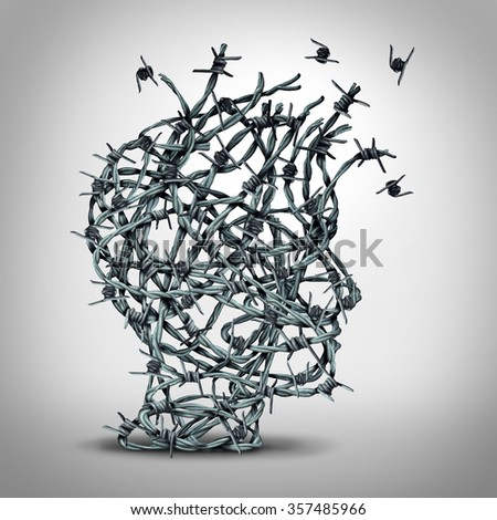 Anxiety solution and freedom from fear and depression as a group of tangled barbwire or barbed wire fence shaped as a human head breaking free as a metaphor for psychological or psychiatric icon.