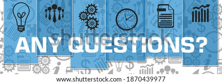 Any questions concept image with text and related symbols. Foto stock ©
