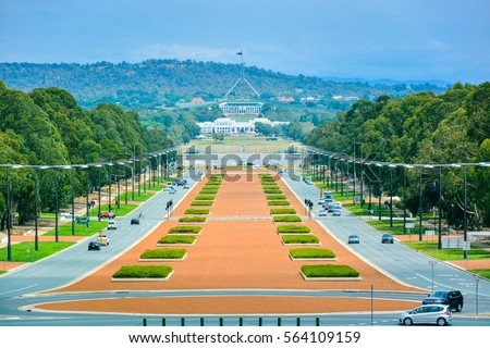 Anzac Boulevard - View from Australian War Memorial, looking toward the Australian Parliament Building in the Far Distance, Canberra, Australia