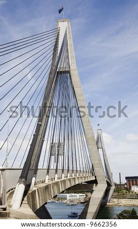 anzac bridge sydney - stock photo