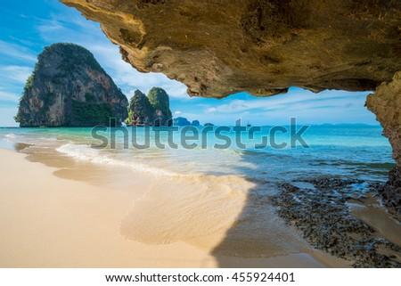 Ao Nang beach on a background of blue sky, Phi-Phi island