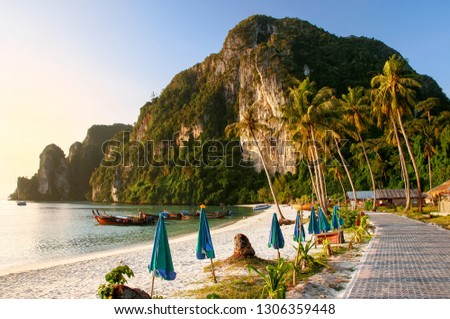 Ao Ton Sai beach in early morning on Phi Phi Don Island, Krabi Province, Thailand. Koh Phi Phi Don is part of a marine national park.