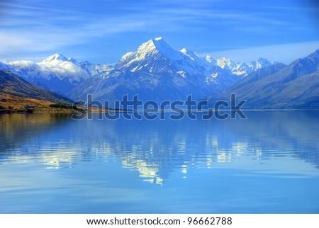 Aoraki Mount Cook and Lake Pukaki, Canterbury High Country, South Island, New Zealand