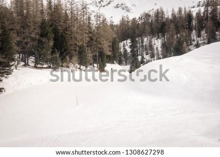 Aosta , Valle d'Aosta, Italy - Mountain skiing and snowboarding . #1308627298