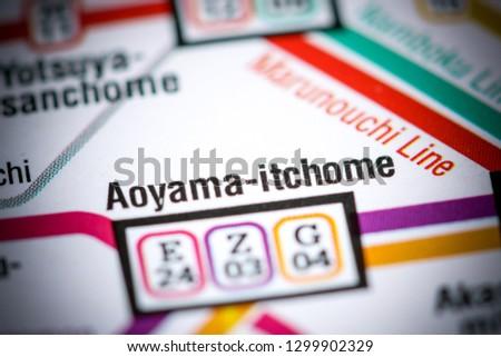 Aoyama Itchome On Subway Map.Shutterstock Puzzlepix