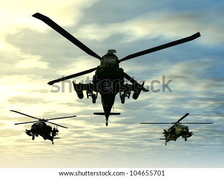 Apache Helicopter Computer generated 3D illustration