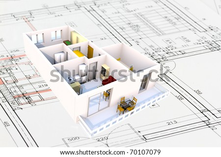 Apartment architecture plans with 3D building structure