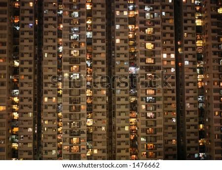 Apartment block at night, Hong, Kong