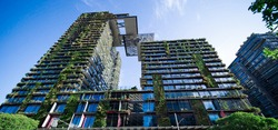 Apartment block in Sydney NSW Australia with hanging gardens and plants on exterior of the building